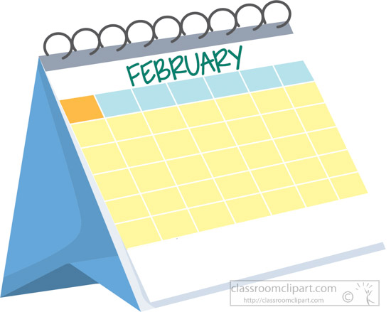 Monthly Calendar Clipart : Calendar clipart monthly desk february white