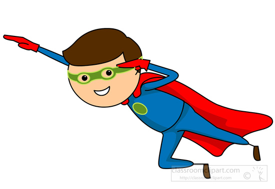 Cartoons : flying-super-hero-cartoon-character : Classroom Clipart