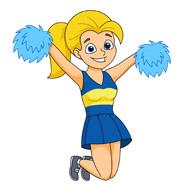 cheerleader jumps up holding pom poms clipart