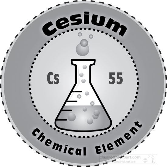 Chemical Elements : Cesium_chemical_element_gray