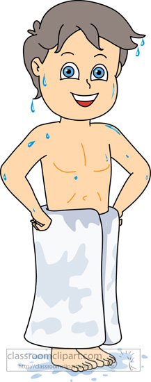 Children : boy-out-of-shower-dripping-water-with-towel ...