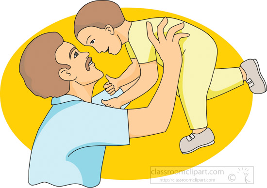 Children : father_holding_baby_up_air : Classroom Clipart