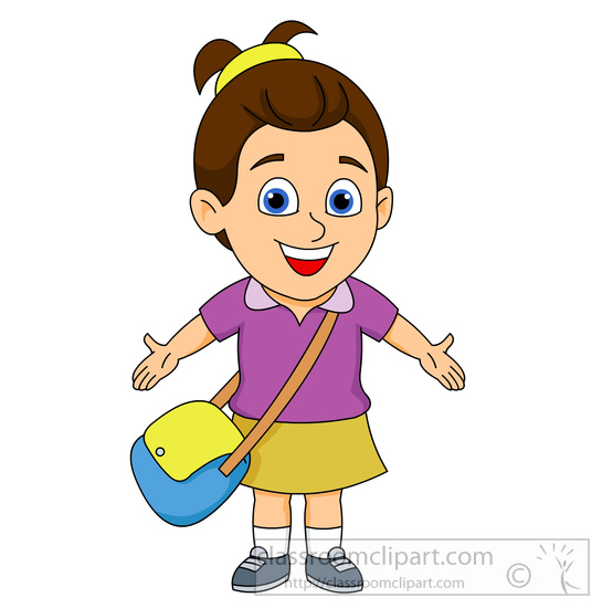Children clipart smiling young girl arms stretched out