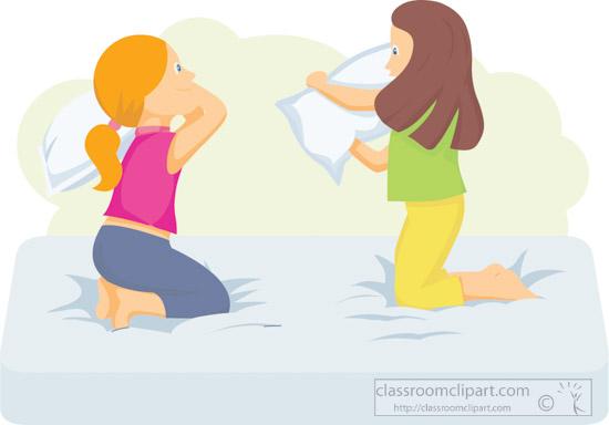 two girls having pillow fight on bed clipart 1213.jpg