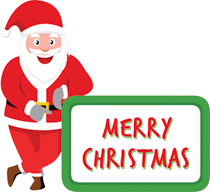 Santa Claus Showing Merry Christmas Banner Clipart Size 134 Kb