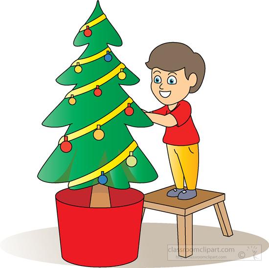 Clipart Decoration Classroom : Christmas clipart boy decorating tree