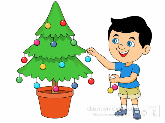 Clipart Decoration Classroom ~ Christmas clipart boy decorating tree