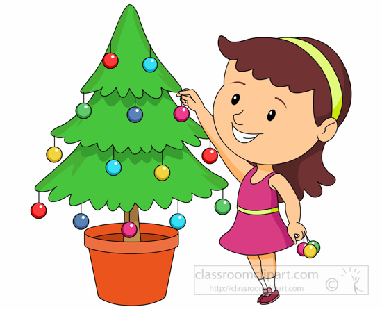 Christmas clipart girl decorating tree