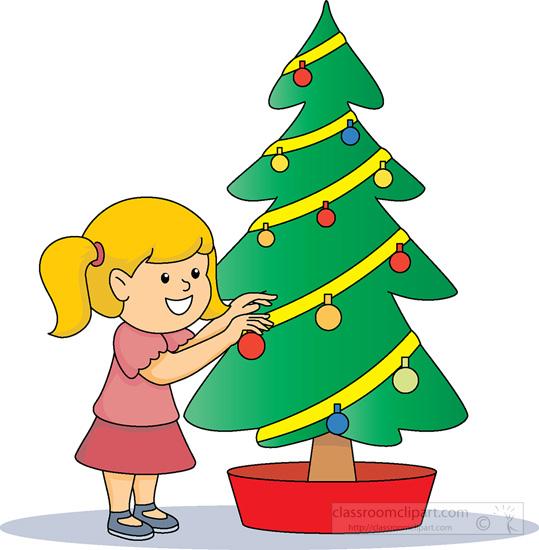 Christmas Clipart : little-girl-decorating-christmas-tree ...