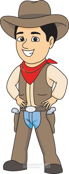 cowboys clipart cowboy wearing hat scarf gun holster clipart 584 rh classroomclipart com cowboy clip art free cowboy clip art black and white