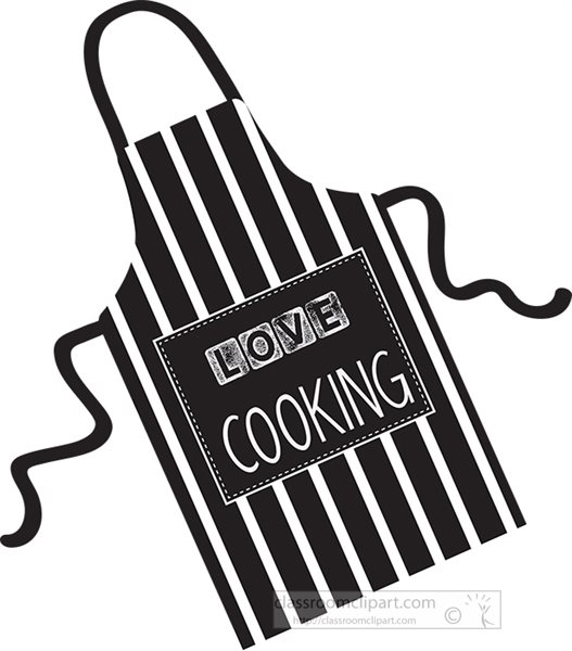 Culinary : black-striped-love-cooking-apron-clipart-70153 ...