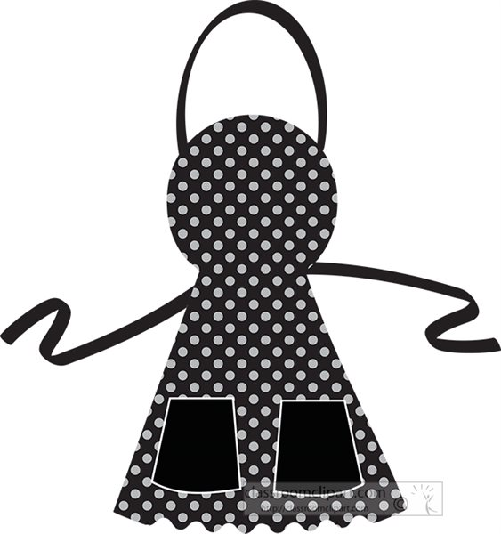 Culinary : black-white-polk-a-dot-apron-clipart-700151 ...