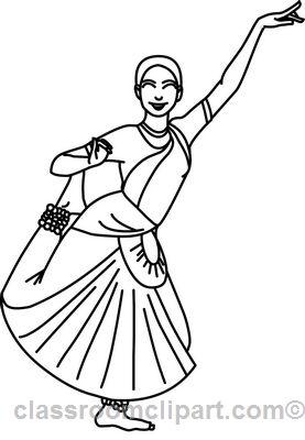 dance clipart indiadancerwoman05outline classroom