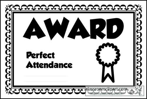 Education Clipart Award Perfect Attendance 2a Classroom