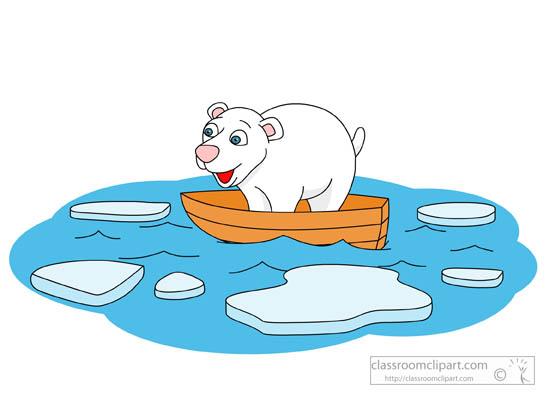 Environment Clipart- polar-bear-in-boat-melting-iceberg ...