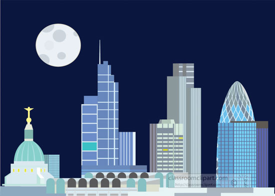 london-england-skyline at night with full moon in sky clipart.jpg
