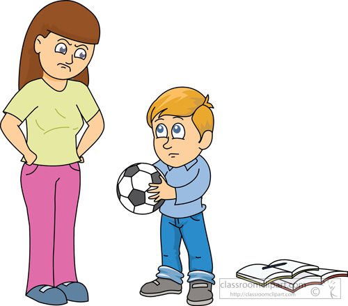 Family Clipart - angry_mother_scolding_boy - Classroom Clipart