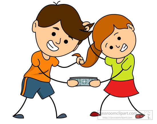 Family Clipart- brother-and-sister-fighting-for-remote ...