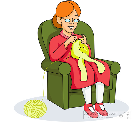 Woman Knitting Clipart : Family clipart old lady knitting classroom