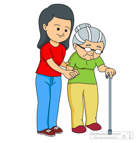 Family Clipart Woman Helping Elderly Woman To Walk