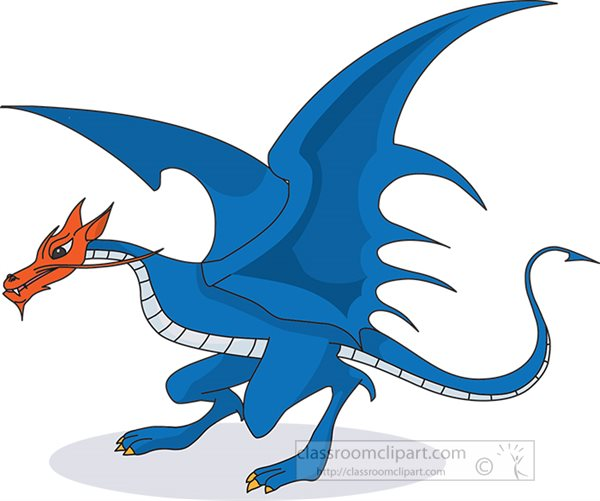 large blue dragon orange face clipart.jpg