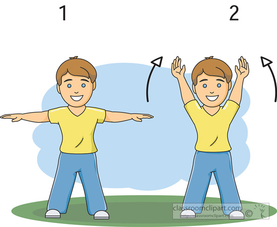 Fitness and Exercise Clipart - exercise-boy-hands-up-down - Classroom  Clipart