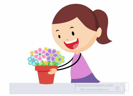clipart girl holding flowers - photo #40