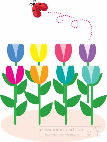 spring-tulips-growing-with-lady-bug-flying-in-garden-clipart-2.jpg