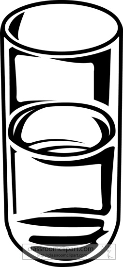 Drink and Beverage Clipart : glass-of-water-bw-outline : Classroom ...