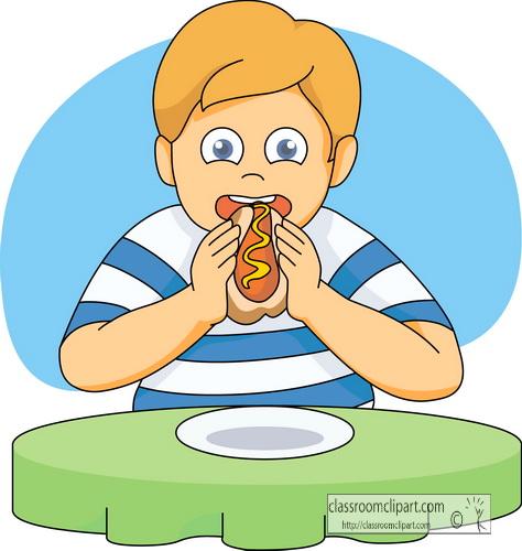 Hotdog Clipart Clipart- boy_eating_hotdog - Classroom Clipart