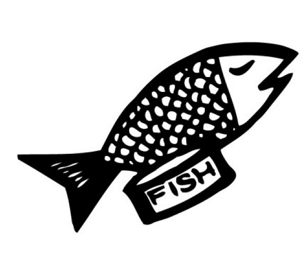Cooked fish clipart black and white - photo#9