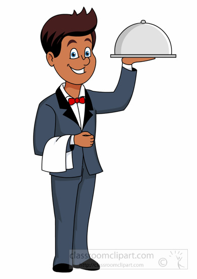 Food clipart waiter carries food covered tray clipart for Job serveur