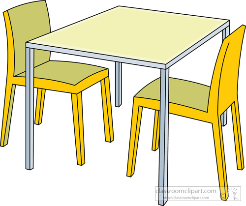 Kitchen Room Furniture Clipart: Furniture : Kitchen_table_chairs_314 : Classroom Clipart