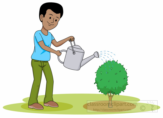 Boy watering plants clipart black and white