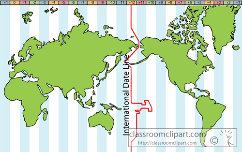 International Date Line On World Map.Geography Clipart Earth Map With International Date Line