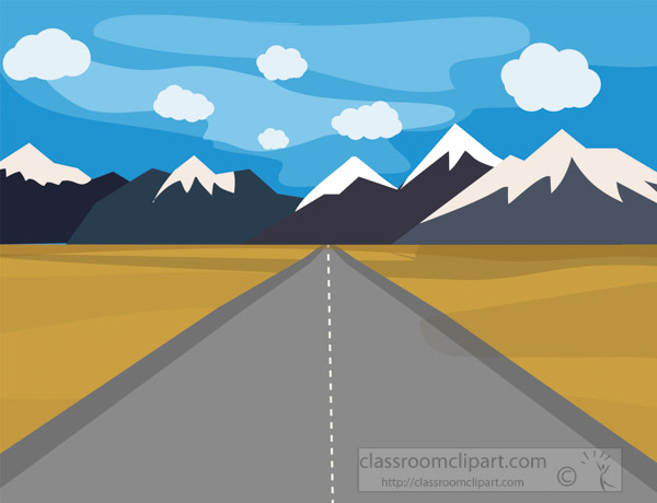 road-pointing-to-the-mountain-with-blue-white-puffy-clouds-in-sky-clipart-image.jpg