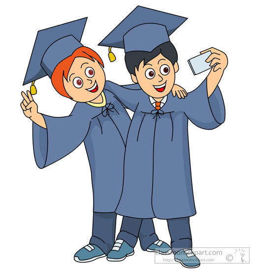 Graduation Clipart- two-students-taking-a-selfie-at ...