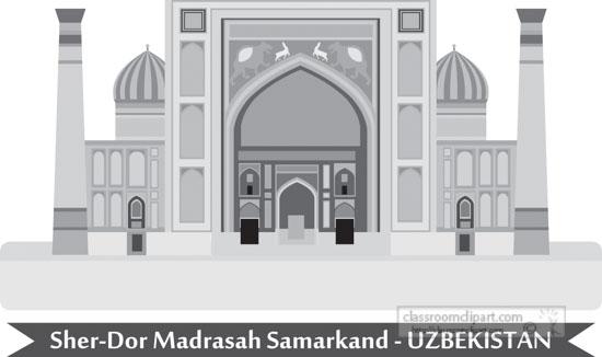 sher-dor-madrasah-registan-square-in-the-city-of-samarkand-uzbekistan-gray-clipart.jpg