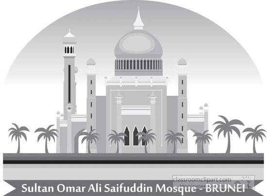 sultan-omar-ali-saifuddin-mosque-brunei-gray-clipart.jpg