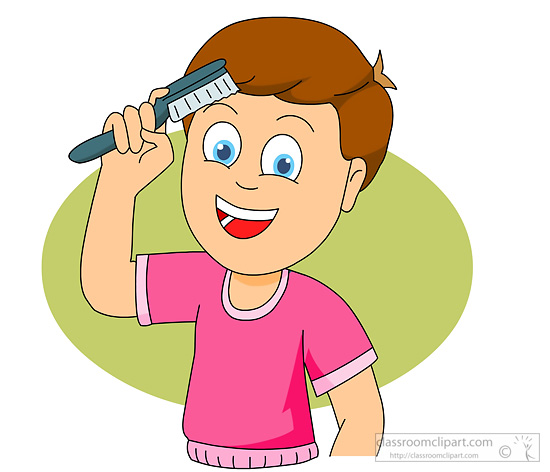 Boy Combing Hair Clip Art