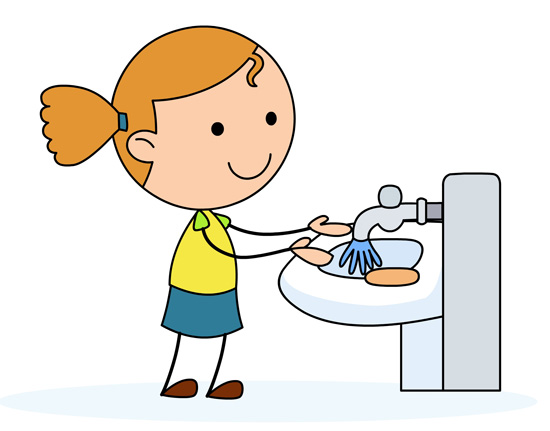 Health : girl-washing-hands-in-a-sink : Classroom Clipart