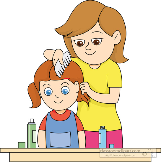 Comb Hair Clipart Mother-combing-daughters-hair. Boy Comb Hair Clip ...