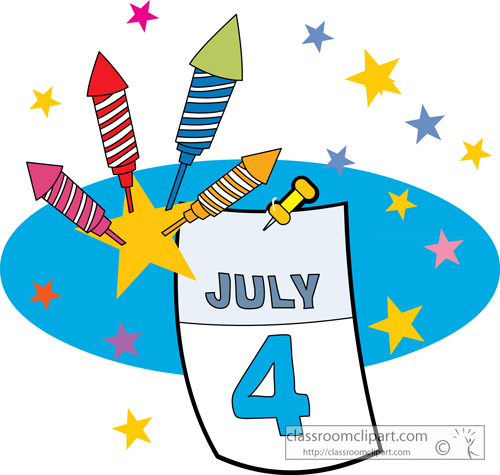 Clip Art Calendar July : Fourth of july th calendar fireworks classroom