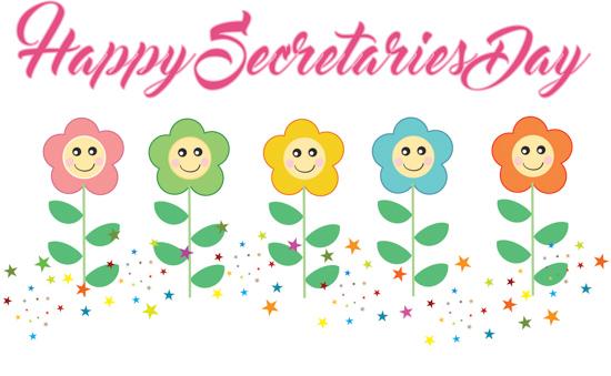 Secretarys Day Happy Secretaries Cute Flowers Clipart