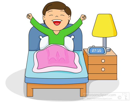 Home Clipart Boy In Bed Waking Up In The Morning