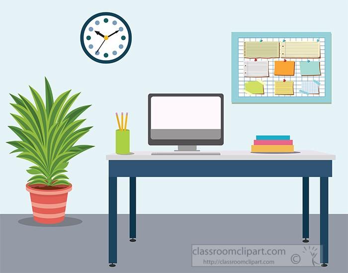 home-office-furniture-desk-bulletin-board-plant-clock-computer-clipart.jpg