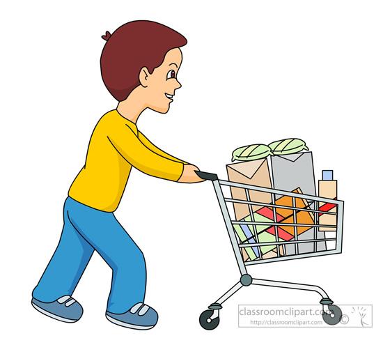 Boy Pushing Shopping Cart 831