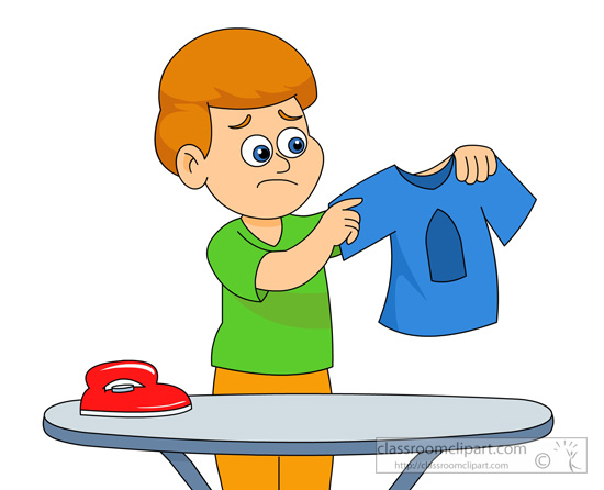 Household boy ironing goes wrong classroom clipart - Wrong wash clothesdegrees ...