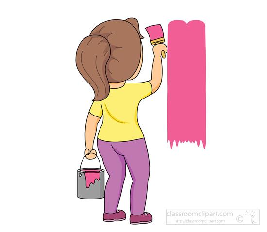household clipart girl with paint brush painting wall House Painter Clip Art Female Painter Clip Art