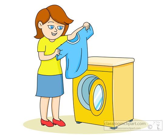 Household Clipart- lady-placing-clothes-in-washing-machine ...